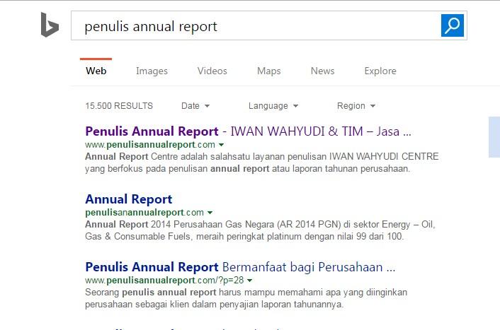 """Hasil pencarian dengan keyword """"penulis annual report"""" di Bing"""