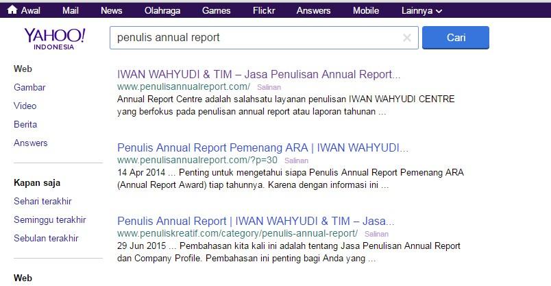"""Hasil pencarian dengan keyword """"penulis annual report"""" di Yahoo"""